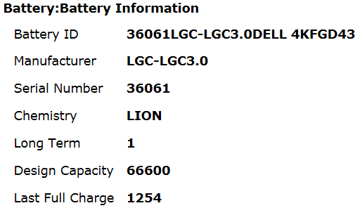 Table showing Bad Battery health check status information ID Manufacturer Serial number Chemistry LiON Cycle Count Design Last Full Charge capacity