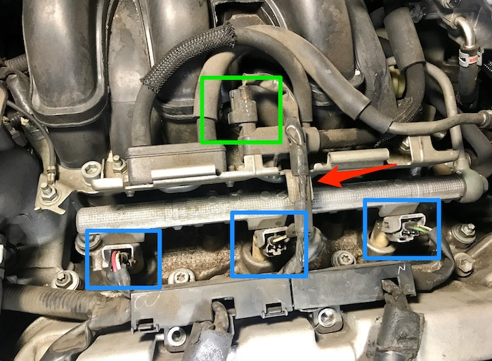 Toyota Lexus v6 Hybrid engine valve cover gasket ignition coils spark plugs replacement Highlander RX Camry Solara Sienna 330 400h ES330 vacuum solenoid valve switch connector wire harness fuel injector removal