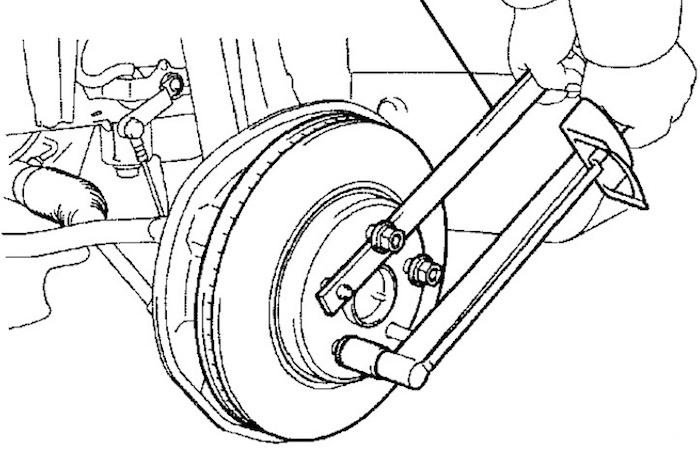 Warped rotor wobbling brake disk rotor holding removal tool