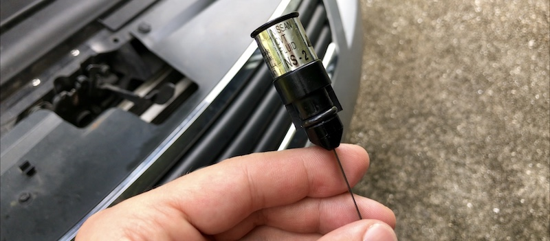Nissan CVT transmission oil fluid type indicated on the dipstick